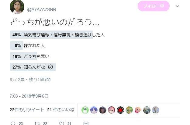 吉澤ひとみのひき逃げ被害者・はるな、不適切発言で炎上しTwitter非公開→別垢で「どっちが悪いのか」アンケート開催