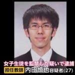 新島学園中学校教員・内田慎也は2年のクラス担任で数学の専任講師と判明!