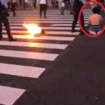 【動画】渋谷スクランブル交差点で男から出火 焼身自殺との声も